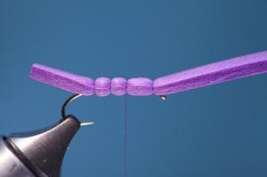 tying purple foam hopper