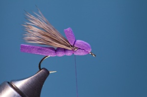 tying purple foam hopper