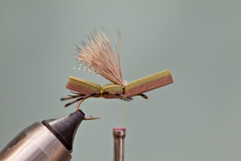 tying in deer hair wing on green machine