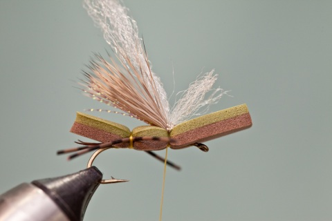 tying in z-lon on two tone fly