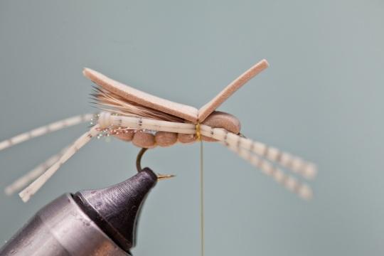 tying in foam wing on hopper