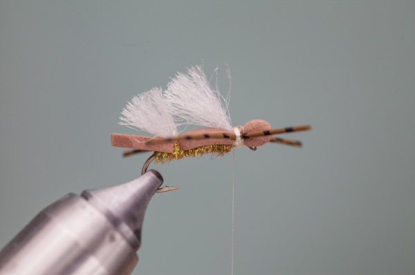 Tying in rubber legs on hopper