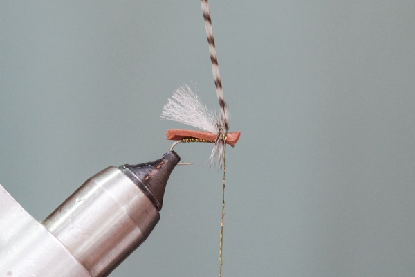 Secure hackle on foam fly