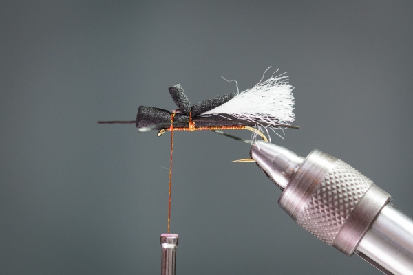 fly tying thread to secure foam strip