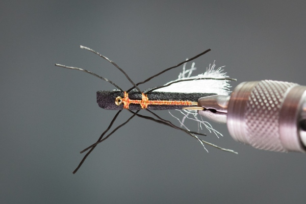Trout view of foam cylinder stonefly hopper