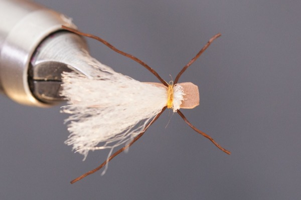 top view of mini chubby chernobyl fly tying tutorial